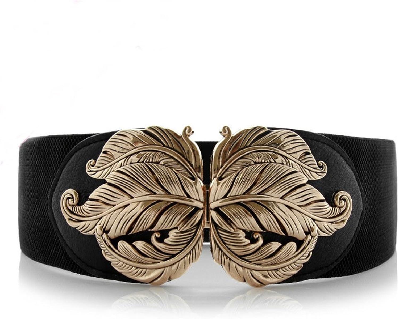 Women's Belt Ancient Sculptures Metal Leaf Belts for Ladies' Decorative Skirts Waist Tightness Wide Belt