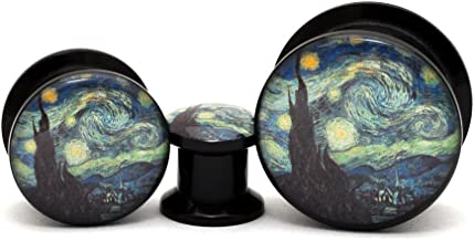 Mystic Metals Body Jewelry Black Acrylic Starry Night Picture Plugs - Sold as a Pair