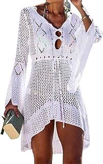 UMIPUBO Copricostume Mare Donna Maglieria Costume da Bagno Abito da Spiaggia Tinta Unita Manica Campana Copricostumi da Bagno Boemo Cava Bikini Cover Up