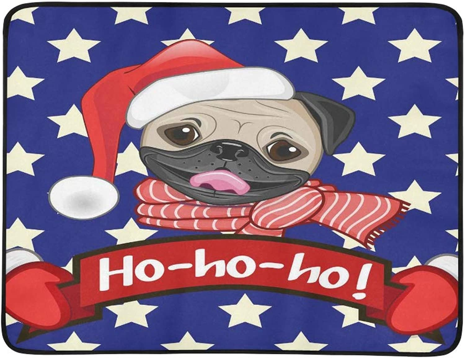 Christmas Illustration of Cartoon Pug Dog in A San Pattern Portable and Foldable Blanket Mat 60x78 Inch Handy Mat for Camping Picnic Beach Indoor Outdoor Travel