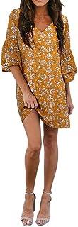 لباس مجلسی زنانه BELONGSCI شرت کوتاه و ناز V- گردن آستین شیفت لباس کوتاه