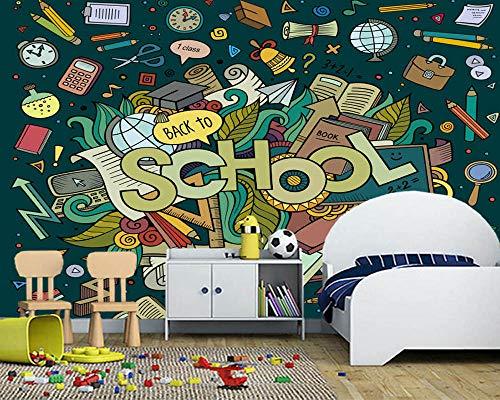 Muursticker aangepaste school cartoon dodle element muurschildering woonkamer slaapkamer bank achtergrond decoratie wallpaper 300 cm x 210 cm.