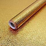 15.7'X118' Kitchen Oil Proof Backsplash Wallpaper Peel and Stick Gold Wallpaper Self Adhesive Aluminum Foil Waterproof Wall Paper for Kitchen Countertop Cabinet Drawer Liner Shelf Liner