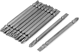uxcell a16011600ux0474 100mm Long Mangetic Two Ways Slotted Phillips Screwdriver Bits Gray 10Pcs,