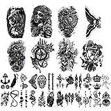 Yazhiji 32 Blatt Temporäre Tattoos Aufkleber, 8 Blatt Gefälschte Körper Arm Brust Schulter Tattoos für Männer Frauen mit 24 Blatt Winzige schwarze Temporäre Tattoos.