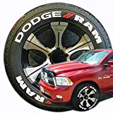 TireStickers Dodge RAM Truck Tire Lettering Accessory Kit - Easy DIY Permanent Glue On Rubber with 2oz Touch-Up Cleaner / 18-21 Inch Wheels / 1.25 Inches/White/Red / 8 Pack