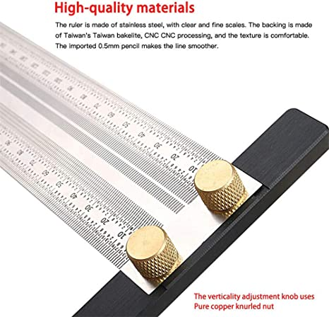 180mm Scale T-type Hole Ruler Stainless Scribing Mark Carpenter Line Measuring Tool Ultra Precision Marking Ruler Edelstahl Lineal Pr/äzisions-Holzbearbeitungswerkzeuge