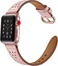 Mtozon Band Compatible with Apple Watch Band 42mm/44mm, Classic Genuine Leather Wristband Replacement Strap Women Pink