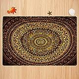 Alfombra de baño Antideslizante,Mandala, patrón de Mandala en Colores Oscuros Ilustración de Estilo árabe Antiguo simétrico, múlt Apto para Cocina, salón, Ducha (50x80 cm)