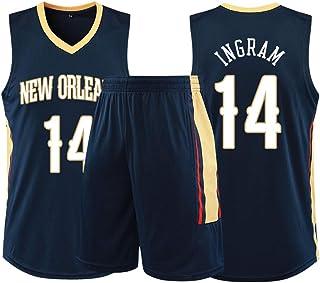 Hombres Baloncesto Jersey-Brandon Ingram 14# New Orleans Pelicans, Camiseta sin Mangas para Hombres Pantalones Cortos de Verano Conjunto de Traje de Baloncesto Ropa Deportiva de Malla de Secado rápi