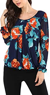 AVTOSRNO Women's Long Sleeve Scoop Neck Pleated Front Mesh Blouse Top Shirt