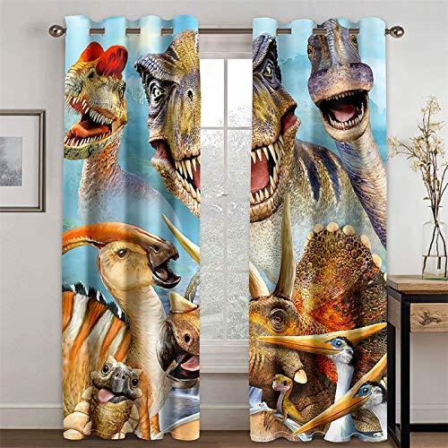 YUNSW Cortina De Tigre De Dinosaurio Realista En 3D Y Cortina Aislante De Calor para Sala De Estar Y Dormitorio, Juego De 2 Piezas (Total Width) 160x(Height) 160cm