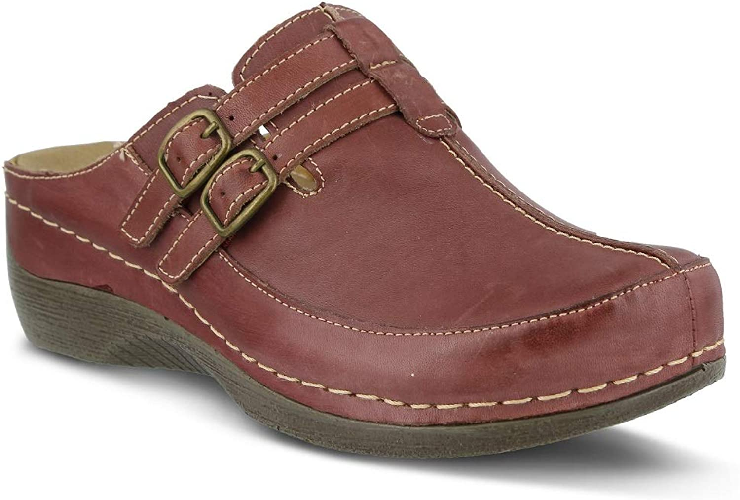 Spring Step Women's Happy Clog & Mules   color Bordeaux   Leather Clog & Mules