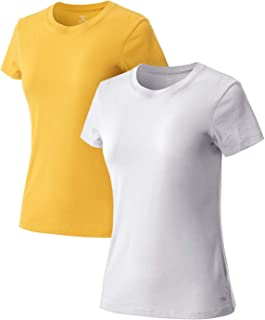 TSLA Women's (Pack of 2) Short Sleeve Workout Shirts, Dry Fit Moisture Wicking R-Neck/V-Neck T-Shirts, Sports Running Tee ...