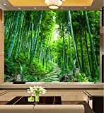 Fotomurales 3D tejido-no tejido Bosque, Bosque De Bambú Fotografico Fotomurales Decoración de Pared Arte decorativos Murales moderna de Diseno Pared de fondo de TV,200x150 cm(W x H)