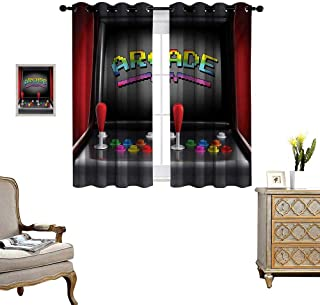 Video Games Blackout Window Curtain Arcade Machine Retro Gaming Fun Joystick Buttons Vintage 80s 90s Electronic Customized Curtains W55 x L72 Multicolor