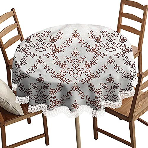 SoSung Persian Round Decorative Tablecloth, Traditional Pattern Flowers Washable Polyester Lace Edge Table Covers, Diameter 54 Inch, for Birthday Parties, Weddings, Dining Room Tables