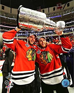 NHL Jonathan Toews & Patrick Kane Chicago Blackhawks 2015 Stanley Cup Trophy Photo