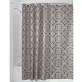 iDesign Medallion Textil Duschvorhang   180 cm x 200 cm Duschabtrennung für Badewanne & Duschwanne   Vorhang aus Stoff mit verstärkter Oberkante   Polyester beige
