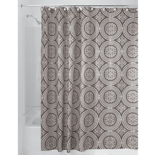 Price comparison product image iDesign Medallion Fabric Shower Curtains,  Long Shower Curtain,  Made of Polyester,  Beige