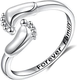 925 Sterling Silver Infinity Love Forever Family Cute Baby Feet Open Wrap Ring for Women Mom,Size 6 7 8
