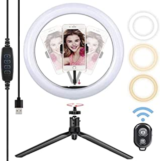 YLLN Lqdpdd LED Ring Light with Tripod Stand and Phone Holder, Desktop Ring Light with 360° Rotatable Gimbal Dimmable USB ...