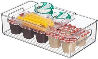mDesign rangement de cuisine (set de 2) – bac de rangement en plastique pour placard de la cuisine ou frigo – ensemble bac...