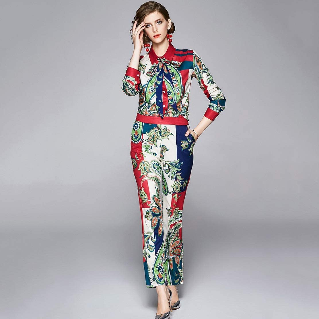 SGZYJ 2020 Spring Fashion Pant Set Suits Women's Turn-Down Collar Bow Tie Shirt Top+ Floral Printed Trousers Suit 2 Pieces Sets (Size : XX-Large)