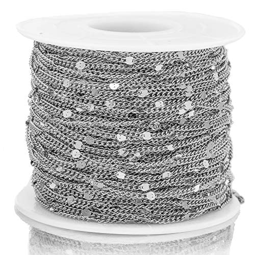 HXUJ 2 Meter Ancho 1.5mm Cadenas de redondeo de Prensa de Acero Inoxidable de 1,5 mm para Pendiente de Tobillera Collar de joyería para fabricar artesanías de Bricolaje,Plata
