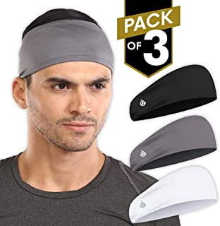 Mens Headband - Sports & Workout Sweat Head Bands - Athletic Sweatbands for Running, Basketball, Exercise, Yoga, Cycling, Tennis, Baseball, Football - Performance Stretch Hairband & Moisture Wicking