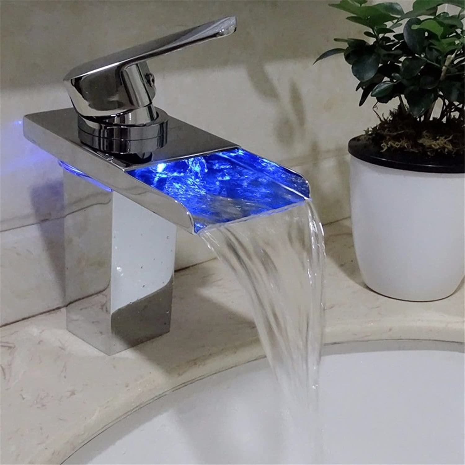 Modern simple copper hot and cold kitchen sink taps kitchen faucet Copper hot and cold faucet LED self-illuminating temperature-changing waterfall single hole washbasin faucet