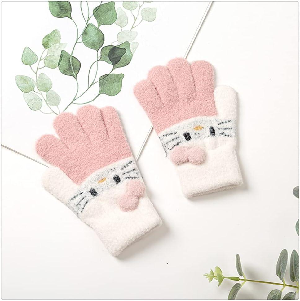 WBDL Winter Knitted Children's Gloves 3-10 Years Warm Soft Rabbit Wool Cartoons Kids Gloves Child Full Finger Baby Boys Girls Mittens