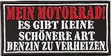 Mein Motorrad, BENZIN verheizen, Biker Chopper Aufnäher Patch Abzeichen