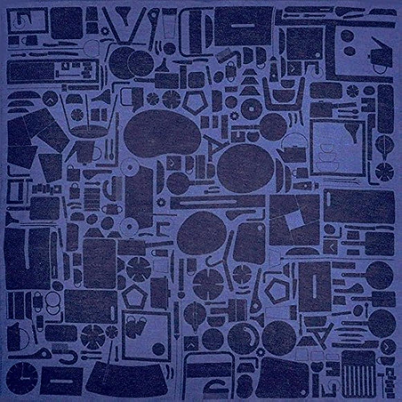 廃棄習字遺棄された加藤萬 和雑貨 祝い文 ファブリック Sサイズ 道具 藍色 52×52cm H8203