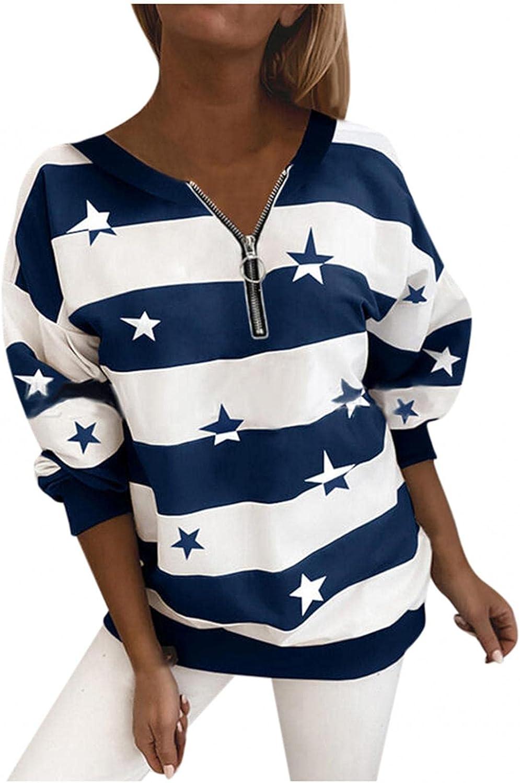 Long Sleeve Shirt for Women Crewneck Zipper Stripe Stars Fall Pullover Tunic Tops Lightweight Sweatshirt