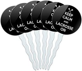 Set of 6 Cupcake Picks Toppers Decoration Keep Calm and H-O - Lacrosse On Sports - Keep Calm and