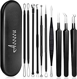 Pimple Popper Tool, Aooeou 10 Pcs Professional Pimple Comedone Extractor Popper Tool Acne Removal Kit - Treatment for Pimples, Blackheads, Forehead,Facial and Nose