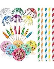 200 Decoraciones de Fiesta de Cócteles, Incluye Palillos de Madera de Bambú Natural Palos de Papel de Paraguas Fuegos Artificiales de Aluminio Pajitas de Papel Bebiendo, Color Mezclado