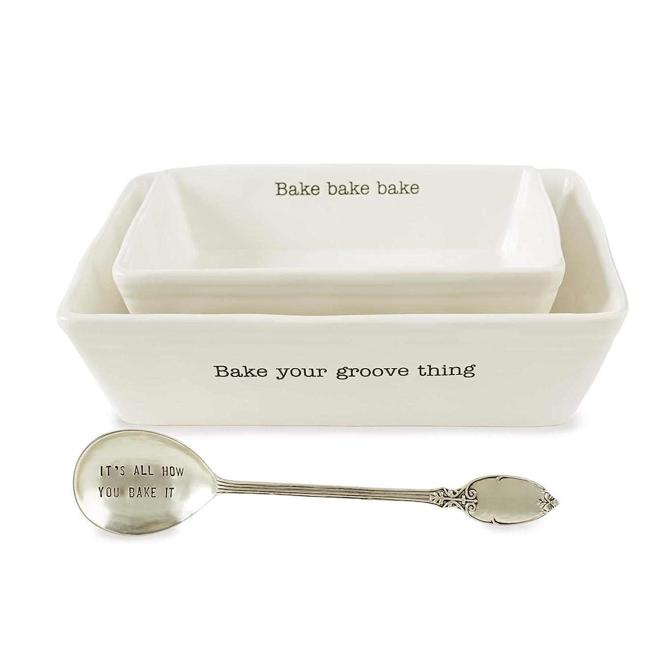 Mud Pie 48010008 Farmhouse Inspired Set of 2 Serving Spoon Baking Dish Set, One Size, White