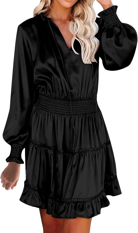Womens Sexy Ruffle Short Dresses Vintage Solid Color Long Sleeve Mini Dress Fashion V-Neck Fall Tshirt Dresses