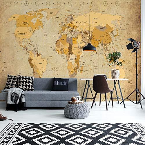 Vintage World Map Sepia Fotobehang Muur VEXXL - 312cm x 219cm