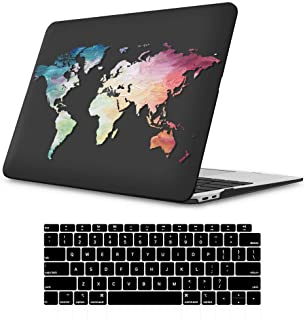 iLeadon MacBook Air 13 Inch Case 2020 2019 2018 Release A2179 A1932, Soft Touch Ultra Thin Hard Shell Cover for Apple Newest MacBook Air 13 Inch with Retina Display fits Touch ID, Black Map