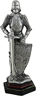 Zeckos Medieval Knight in Armor Standing Holding Sword and Shield Statue 9 Inch