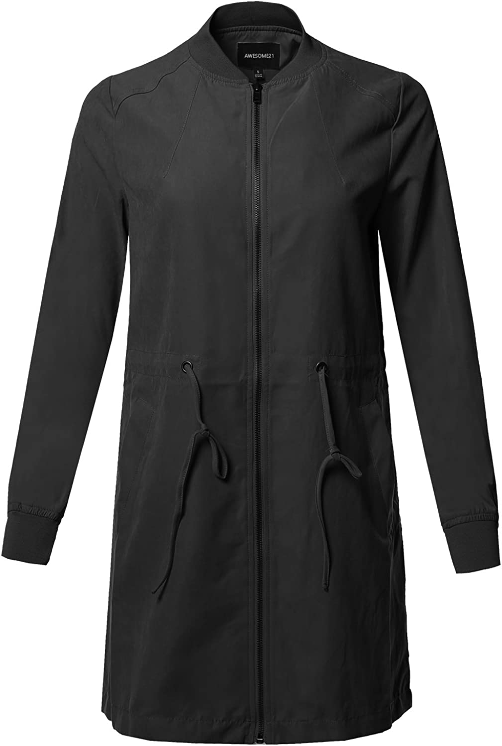 Awesome21 Women's Casual Solid Anorak Safari Zipper Closure Long Bomber Jacket