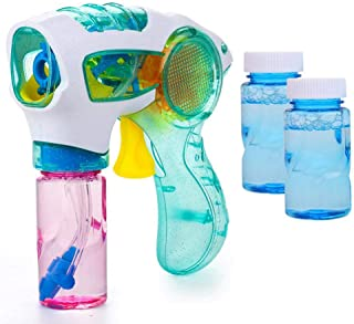 Bubble Gun, Hamkaw Dinosaur Bubble Gun Blower, Bubble Gun Shooter Light Up Blower Machine with LED Flashing Lights and Music Bubble Blowing Toys for Kids - Includes 2 Bubble Solutions