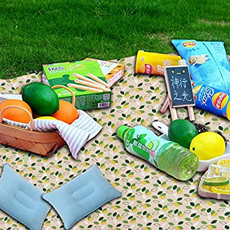 Travel Oversized Beach mat Camping Sand-Proof Chinch 80x78inch Oversized Portable Picnic Blanket Suitable for 3-7 Adults Moisture-Proof Hiking 2 Inflatable Pillows