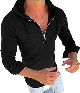 Hombres Camiseta de Manga Larga con Cremallera y Capucha de Otoño E Invierno Camisas Hombre Camisetas Primavera Tallas Gra...