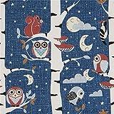 Dunkelblauer Stoff mit Eulen in Birken von Stof Fabrics