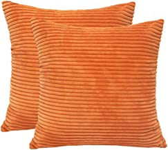 4TH Emotion Pack of 2 Striped Corduroy Throw Pillow Case Cushion Cover for Sofa (20 x 20 Inch, Orange)