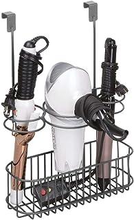 mDesign Over Door Bathroom Hair Care & Hot Styling Tool Organizer Storage Basket for..